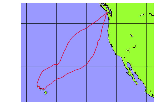 Peg Leg 1990 Victoria to Hawaii and back to Caddy Bay.